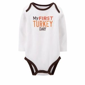 "NEW! Carters ""My First Turkey Day"" Bodysuit-9 M"
